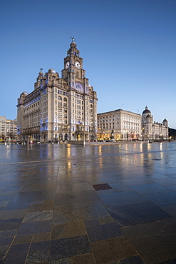 The Three Graces reflected on the Pier Head, UNESCO World Heritage Site, Liverpool, Merseyside, England, United Kingdom, Europe