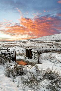 A winter scene at Wildboarclough, Peak District National Park, Cheshire, England, United Kingdom, Europe