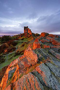 The Folly at Mow Cop with amazing sunset, Mow Cop, Cheshire, England, United Kingdom, Europe