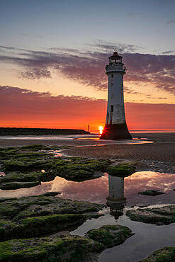 Perch Rock Lighthouse with setting sun, New Brighton, Cheshire