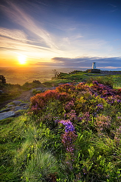 Sunrise at Cloudside triangulation pillar with Heather, near Congleton, Cheshire, England, United Kingdom, Europe