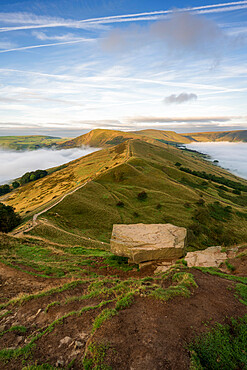 A cloud inversion either side of The Great Ridge and Mam Tor, Peak DIstrict, Derbyshire