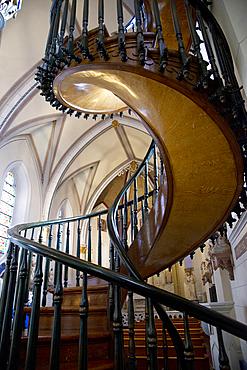 Loretto Chapel spiral staircase in Santa Fe, New Mexico, United States of America, North America