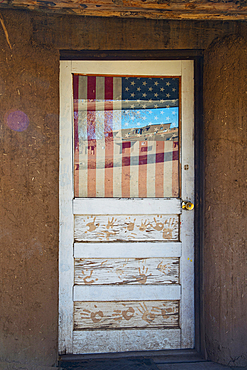 Detail of a door at Taos Pueblo in Taos, New Mexico, United States of America, North America