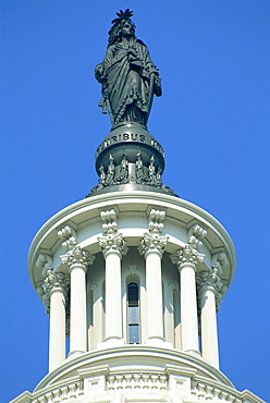 Close-up of the statue on top of the Capitol in Washington D.C., United States of America, North America
