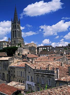 The tower of L'Eglise Monolithe, St. Emilion, Gironde, Aquitaine, France, Europe