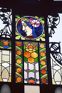 Detail of art nouveau glasswork on the Community House, Prague, Czech Republic, Europe
