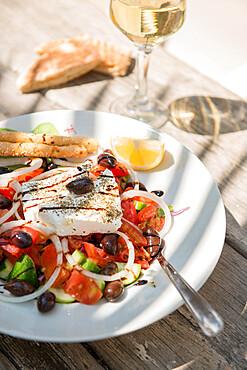 Cypriot Village Salad served with pitta bread and white wine, Cyprus, Mediterranean, Europe