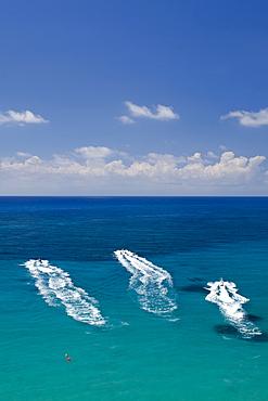 Aerial view of people on jet skis, Coral Bay, Paphos, Cyprus, Mediterranean, Europe