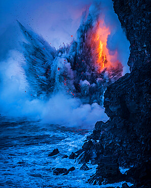 An explosion resembling an angel rises from the sea. Created by rare natural forces when lava pours into the open ocean.
