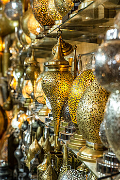 Lantern shop in souk, Medina, Marrakech, Morocco, North Africa, Africa