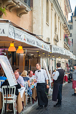 Waiter and outdoor cafe tables, Piazza Navona, Rome, Lazio, Italy, Europe