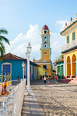 Bell tower of the Convento de San Francisco as seen from the Museo Historico in Trinidad, UNESCO World Heritage Site, Sancti Spiritus, Cuba, West Indies, Central America