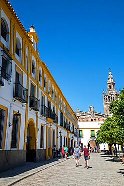 La Giralda and Patio de Bandaras, Seville, Andalucia, Spain, Europe