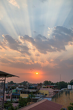 Sunset over Agra, Uttar Pradesh, India, Asia