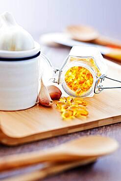 Garlic oil capsules.