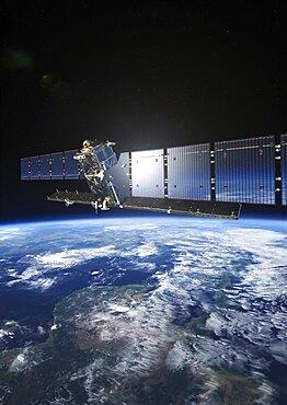 Sentinel-1 satellite in orbit, artwork