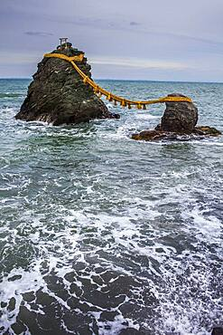 Meoto-Iwa, Wedded Rocks off the coast of Futamigaura Beach, Futami Town on the in Mie Prefecture, Japan.