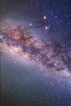 The constellation of Scorpius with bright reddish Antares at top, with even brighter reddish Mars above it, and whie Saturn to the left of Antares. This shows all of Scorpius with Corona Australis and Ara below.