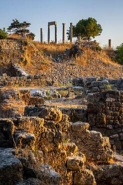Roman colonnade on the top, general view of Archaeological site, Byblos, Lebanon