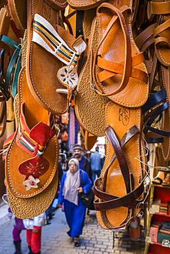 sandals shop, medina, Fez. Morocco