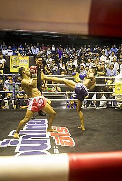 Muay Thai boxers fighting, Bangkok, Thailand