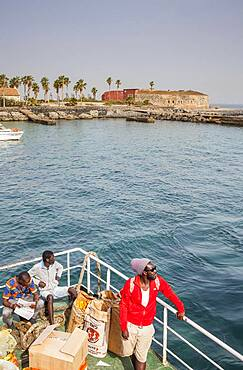 Ferry arriving at Goree Island, in background fort d´Estrees, near Dakar, Senegal, West Africa, Africa
