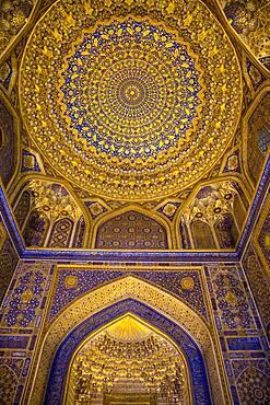 Ceiling of mosque, in Tilla-Kari Madrasa, Registan, Samarkand, Uzbekistan