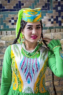 Woman in traditional costume, Samarkand, Uzbekistan