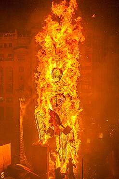Crema, burning, Falla of Plaza del Ayuntamiento,Fallas festival,Valencia,Spain