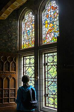 Cardiff Castle, window in the dining room, Cardiff, Wales