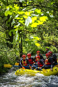 White water rafting at the National White Water Centre on the River Tryweryn, near Bala, Wales