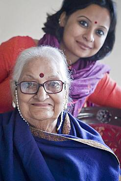 Mrs Mohini Giri, Chairperson in India of The NGO Guild for Service, and her assistant Lopamudra, Delhi, India