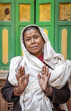 Portrait of widow, Vrindavan, Mathura district, India