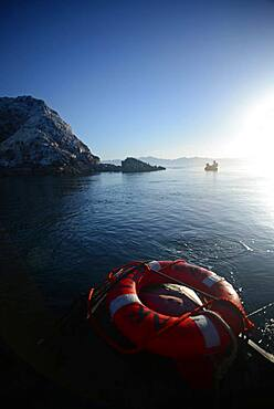 Lifesaver in water, view from boat, Baja California, Mexico
