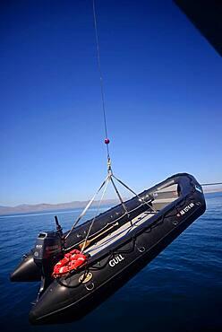 Unloading zodiac from National Geographic Sea Bird, Baja California Sur, Mexico