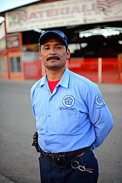 Portrait of guard in street, Santa Rosalia, Baja California Sur, Mexico
