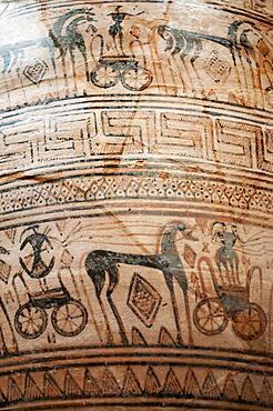Detail of Terracotta funerary krater. Greek, Attic, Geometric, ca. 725 B.C. Atributed to the Trachones Workshop.