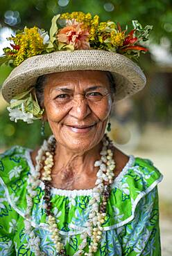 Portrait of a old woman in Huahine, Society Islands, French Polynesia, South Pacific.