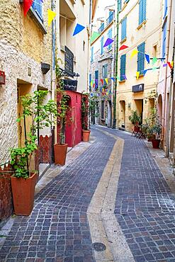 Street in the medieval town of Collioure in the south of France Languedoc-Roussillon Cote Vermeille Midi Pyrenees Occitanie Europe
