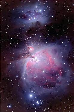 Orion Nebula region with NGC1973-7. Stack of two 10-minute exposures + stack of 30s and 1min exposure for retaining bright core deail. Blended with Normal @ 85% but erasing all of short exposure layer except for core.