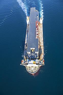 HMAS Adelaide on board the Blue Marlin heavy lift vessel. Shot taken while entering Port Phillip Bay.