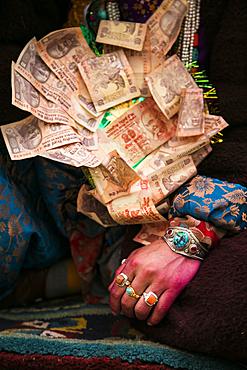 The bride during a tibetan wedding in Zanskar Valley, Northern India.