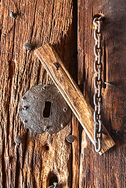 A keyhole in a wooden door, Bet Meskel (House of the Cross) in Lalibela, Ethiopia