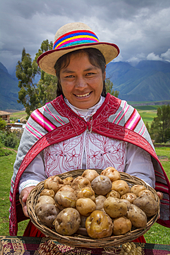 Quechua woman holding basket of potatoes and wearing traditional clothing and hat in Misminay Village, Sacred Valley, Peru.