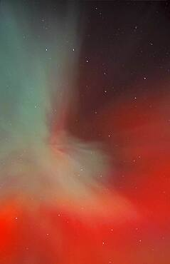 April 17/18, 2001 aurora, taken from home in Alberta. Looking straight up at zenith.