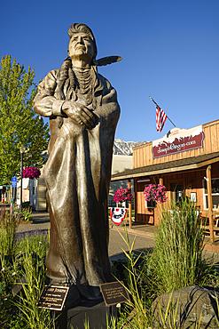 Bronze sculpture of Chief Joseph by Georgia Brown in downtown Joseph, Oregon.