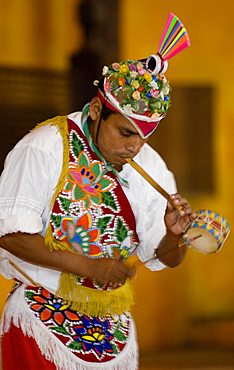 Totonaca performer at the Spectaculare folkloric show in Mazatlan, Mexico.
