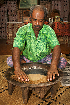 Tui Talili preparing kava for guests at Bulou's Eco Lodge, Navala Village, Viti Levu Island, Fiji.