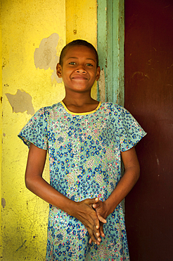 Akeneta Wagali at her school in Navala Village, Ba Highlands, Viti Levu Island, Fiji.